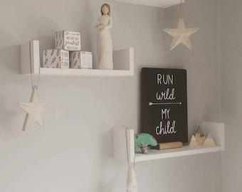 Personalised table top chalkboard. Childs bedroom nursery decor. Run Wild My Child