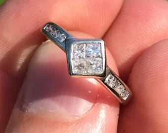 vintage diamond 14k ct white gold wedding engagement ring square princess cut and shoulders 1.95g US size 5.5 UK Size K.5