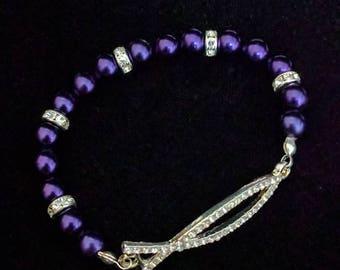 Beaded Faith Stretch Bracelet - Purple