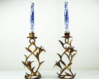 Pair Vintage French Gilded Metal Candleholders