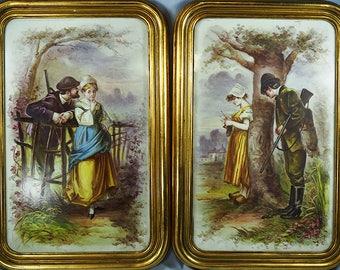 LOT 2 Antique European Hand Painted Ceramic Plaques