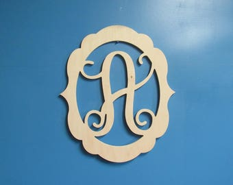 Unfinished Wood Frame with a Monogram Letter, 19.5 inches tall