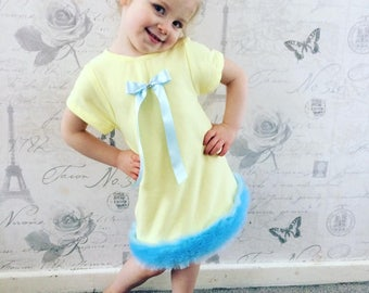 girls dress, fur dress, yellow dress, baby girls, knit dress, cominh home outfit, birthday outfit, girls summer clothes