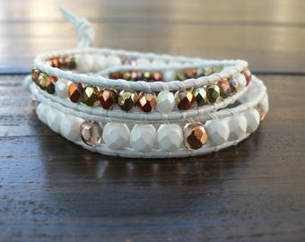 Bracelel wrap beads and leather