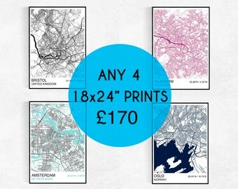 "FOUR 18X24"" City Map Prints, Custom City Map Prints, Street Map, Personalized, Wedding, Housewarming Gift, Graduation, City Map Wall Art"
