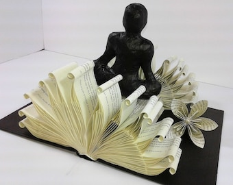 Mother's Day, Anniversary gift, Birthday gift, gift for her/him, personalized gift, gift for mom/dad, book folding, folded book, Lotus Pose.
