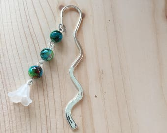Handmade Green and White Glass and Lucite Bead Bookmark