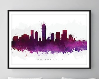 Indianapolis Skyline, Indianapolis Indiana Cityscape Art Print, Wall Art, Watercolor, Watercolour Art Decor