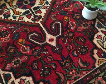 "Caroline // Vintage Antique Persian Rug 5'x3'4"", sweet colorful small space bohemian area rug"