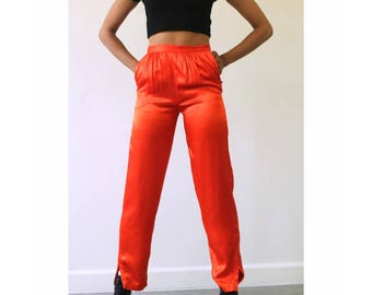 70's high waisted silky pants/ vintage red trousers / XS S