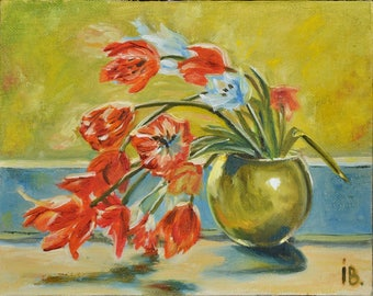 ArtWork, Painting original, Tulips in a vase, Oil canvas, Still life with flowers, red and green, 25x30cm