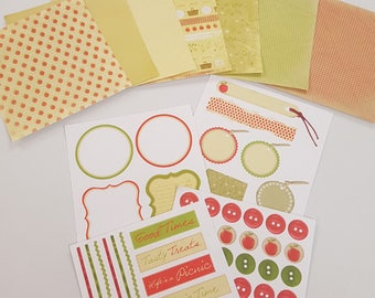 Picnic Strawberry Themed 6x6 inch Scrapbooking Paper with DIe Cuts