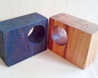 wooden handmade salt and pepper shakers