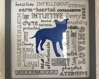 Framed Staffordshire Bull Terrier paper craft artwork