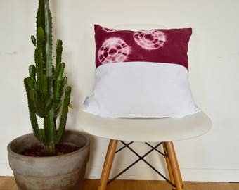 Shibori Tie Dye plum cushion