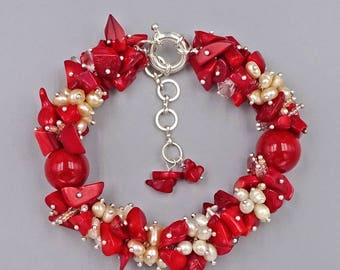 """7.5""""- 10"""" Pearl, Red Coral and Seed Bead Bracelet"""