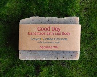 All Natural Amyris Scented Soap with Coffee Grounds