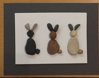 Bunnies or Rabbits Easter Pebble Art Canvas Picture