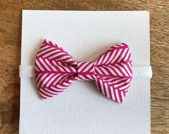 Pink herringbone nylon headband, barrette, or ponytail