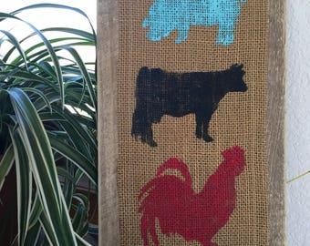 "Farm Animals Sign || Farmhouse Decor || 14"" x 7 3/4"" || Rustic Decor || Farm Animals || Farmhouse || Cow || Pig || Chicken || Farm Decor"