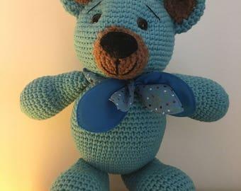 100% Handmade amigurumi crocheted toy bear