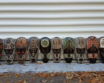 "African style wall decor masks set of (10) 11.5"" intricate hand chiseled wood african style home decore Tiki masks Home Decore Office"