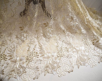 3D lace fabric, champagne lace trim, cotton embroidered lace trim, bubbly bridal lace fabric,bubbly lace fabric, lace fabric with 3D flowers