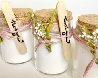 set of 12//modern/sugar scrub shower favors/baby girl shower favors/organic coconut/lavender scent/minimalist/bridal shower/custom/cork