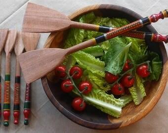 Wooden Salad Servers/Spatular/Spoon with Beautiful Lacquer Finish. Single. Medium.