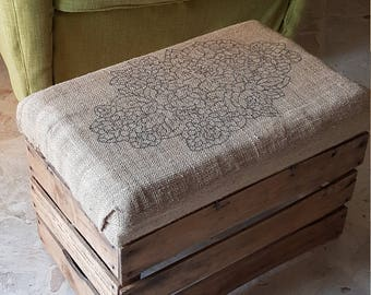 Vintage Pouf wood and jute. Creative recycle reuse sitting stool and cushion.