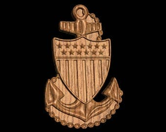 COAST GUARD E7 Rank Plaque CPO Carved  Wall Wood Wooden Military Chief Petty Officer Promotion Retirement Gift
