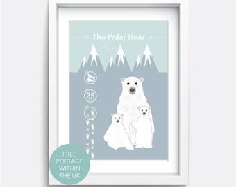 Nursery Decor. Polar bear print. Nursery wall art. Wall art. Educational print. Gift for mum. Gift for boy. Gift for girl. Animal Print