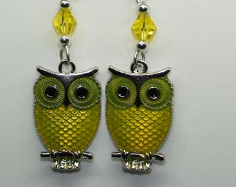 Owl Earrings, Owl Drop Earrings, Owl