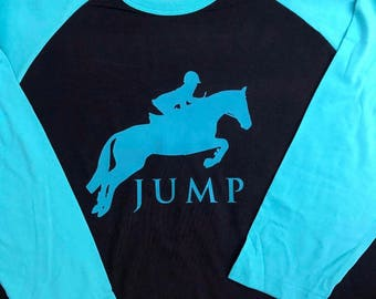 Horses, equestrian, kids, adult, riding horses, fun, vinyl, jumping, baseball style, horseback riding, horse jumping, free shipping