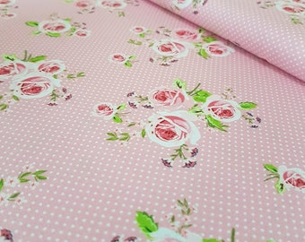 Pink Polka Dot Rose Summer Loft Cotton Fabric - Ring a Roses by Gutermann