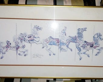 Nancy H. Strailey Carousel Horses Signed Limited Print