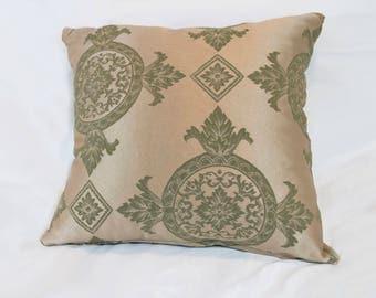 Golden, Green Throw Pillow