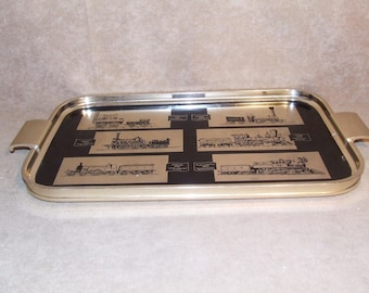 Serving Tray Gold Metal With Railway Trains Locomotives Woodmet Vintage 1960's