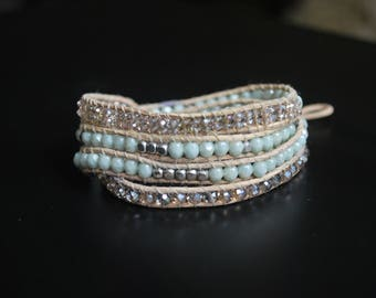 4x Beaded Leather Wrap Bracelet - Great for mom!