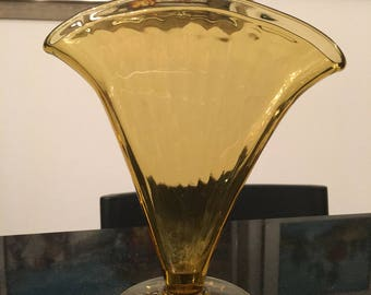Fan Shaped Vase in Amber Glass