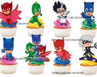 30 x PJ MASKS edible rice fairy paper cupcake cake toppers edible decoration Stand up Pj Masks Kids Party Characters Birthday