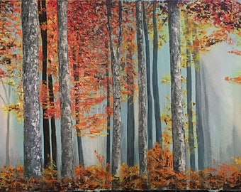 Autumn forest oil painting