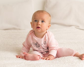 Yoga animals jumpsuit - pink organic cotton
