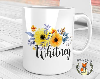 Custom Mug, Yellow Flowers Mug, Personalized Coffee Mug, Watercolor Ceramic, Floral Monogram Mug, Bride Gift, Custom Name Mugs, CM-027
