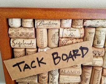 Salvaged wine cork tack board