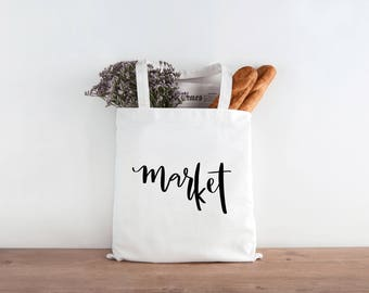 Market Tote Bag, Grocery Tote Bag, Tote Bag, Gift, For Her, For Him, Hand Lettering, Mother's Day, Mom Gift