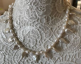 """""""Keshi"""" White Pearl Necklace"""