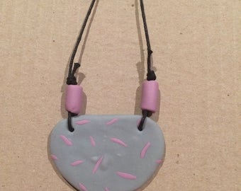 Grey and purple polymer clay necklace