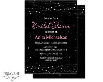 String Light Stars Bridal Shower Invitation - Black background with stars and string lights with pink text scrolls - Printable Invite SP-01
