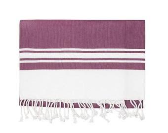 Plum Stripe Turkish Towel